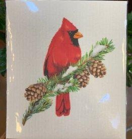 Cardinal on Pine Sponge Cloth