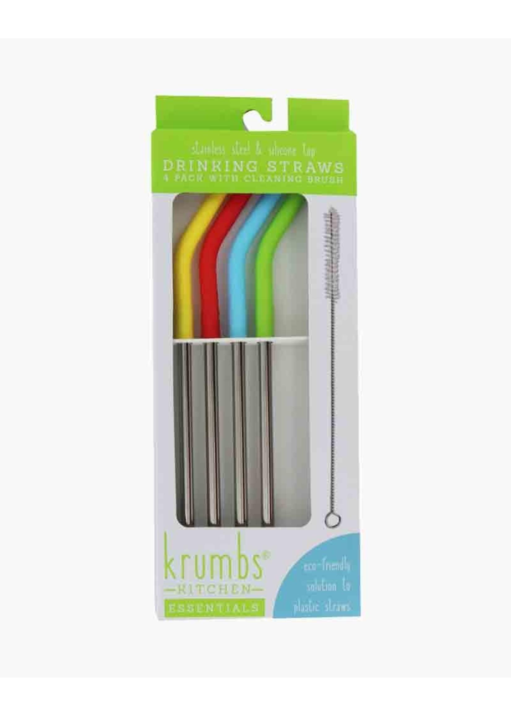 Krumbs Kitchen 4 Piece Stainless Steel Straw with Brush Cleaner