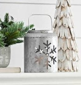 Lantern Round Galvanized Snowflake with Pillar & Bow