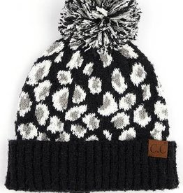 Leopard Jacquard Knit Beanie with Knit Pom Black