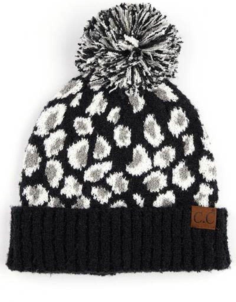 Leopard Jacquard Knit Beanie with Knit Pom Black