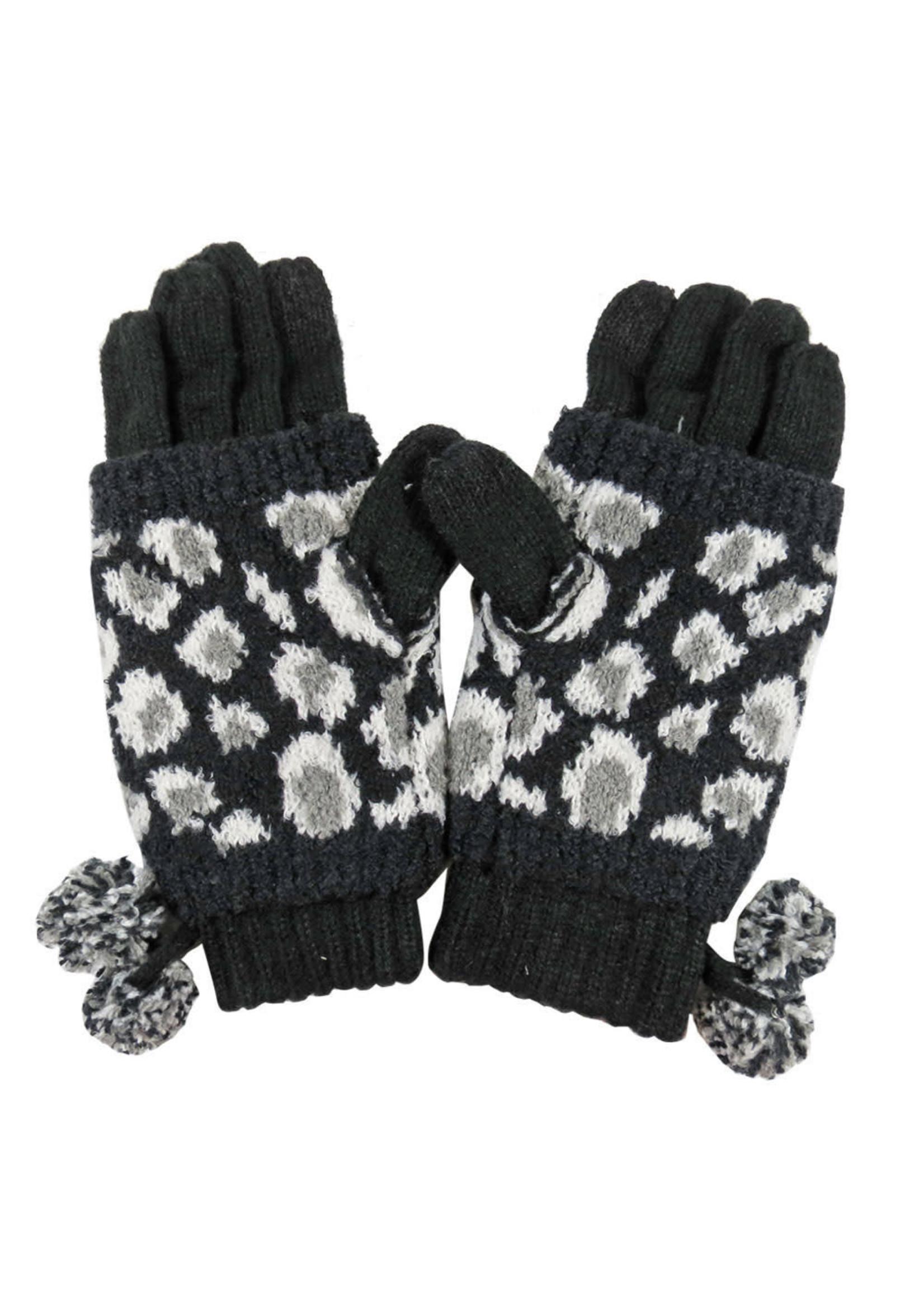 Leopard Jacquard Knit Glove with Knit Pom Black