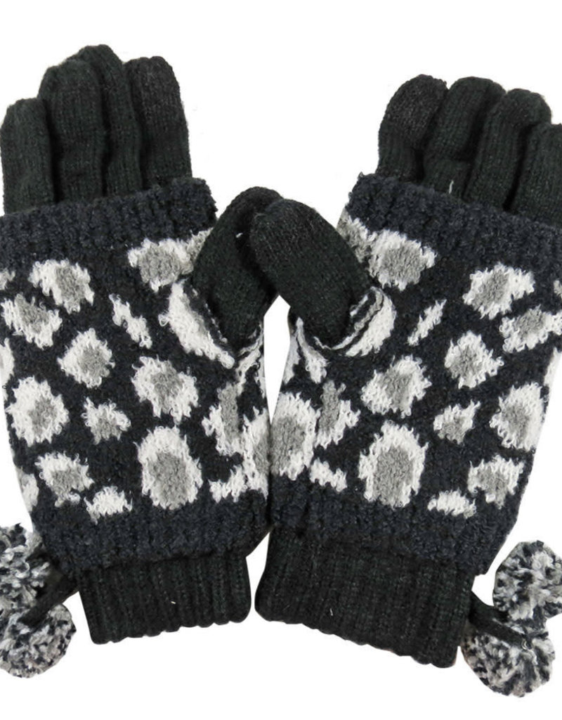 Leopard Jacquard Knit Glove with Knit Pom Black