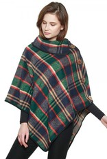 Evergreen Plaid Cowl Neck Poncho with Coconut Buttons, Asst