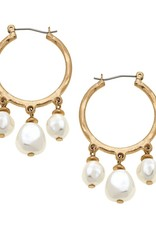 Baroque Pearl Drop Hoop Earrings Ivory