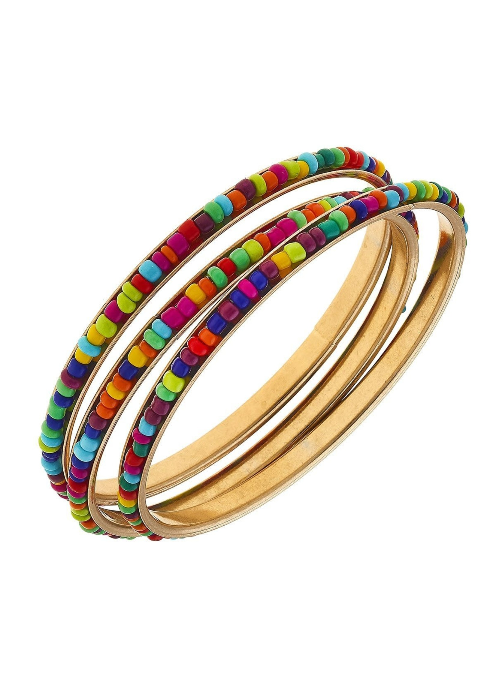 Canvas Jewelry Lulu Bangles in Multi Seed Beads Set of 3