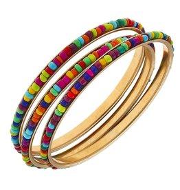 Lulu Bangles in Multi Seed Beads Set of 3