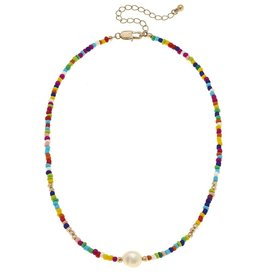 "Canvas Lulu Pearl Necklace in Multi Seed Beads 15"" Adjustable"