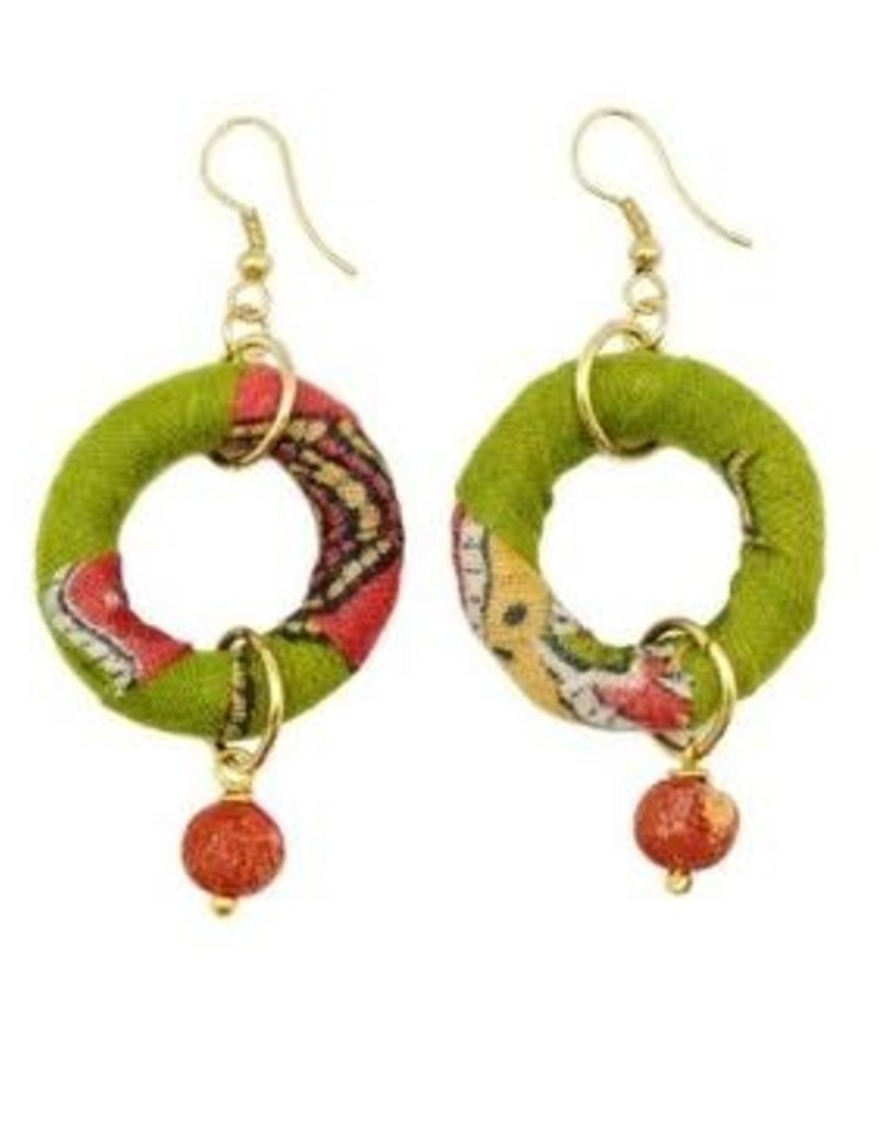 Aasha Earring Circle with Bead Drop Down