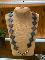 Anju / G A Designs Omala Necklace Green & Linen Color Horn and Aluminum Beads