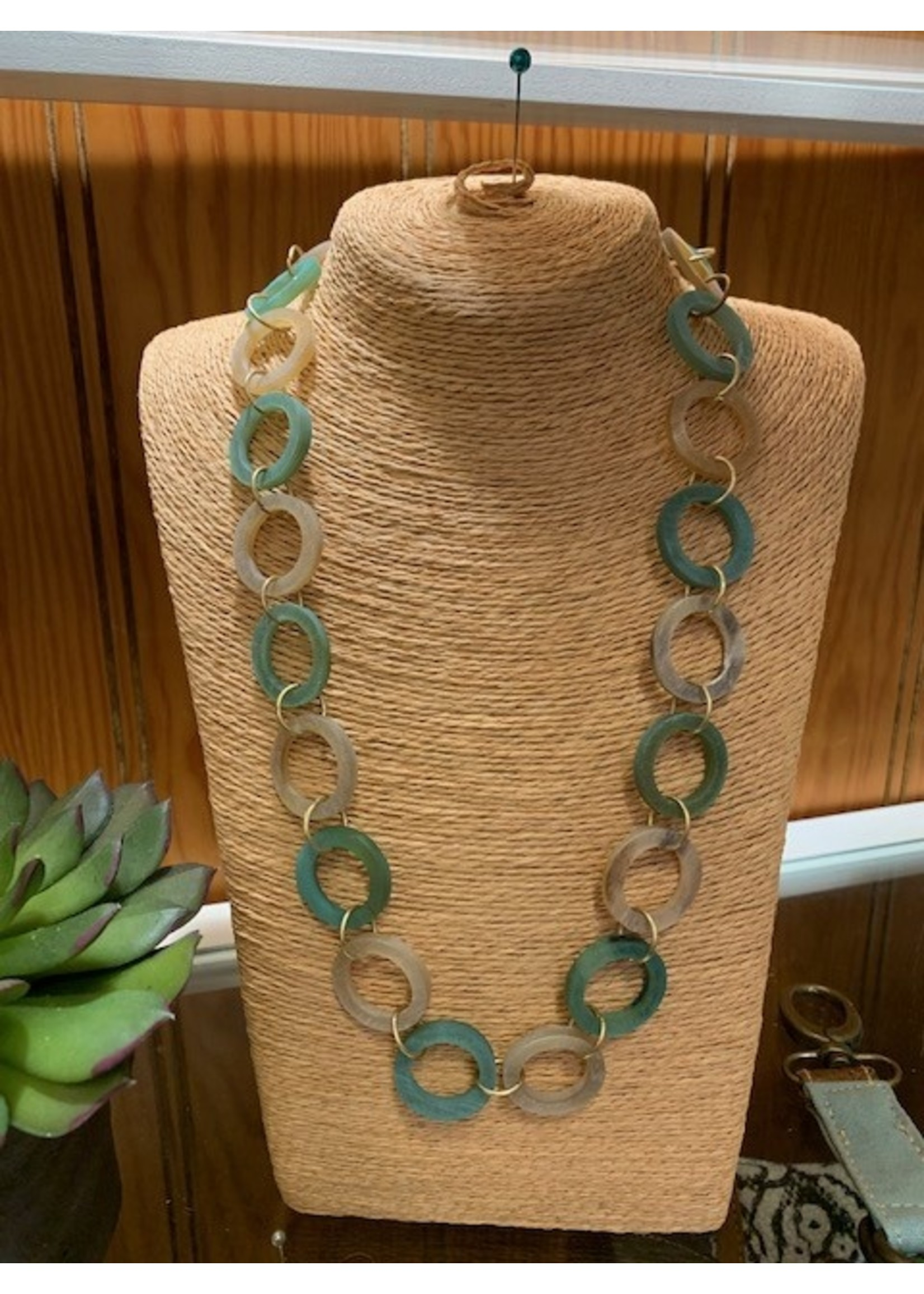 Anju / G A Designs Omala Necklace N1727 Green & Linen Horn Rings