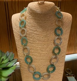 Omala Necklace N1727 Green & Linen Horn Rings