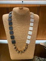 Anju / G A Designs Omala Necklace Natural Horn & White Bone Beads with Rose Gold N1720