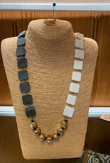 Omala Necklace Natural Horn & White Bone Beads with Rose Gold N1720