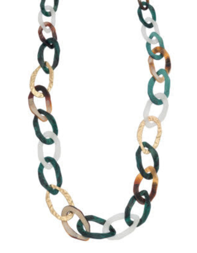 Aqua & Naturals Fashion Link Necklace