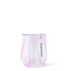 12 oz Stemless Pink Marble