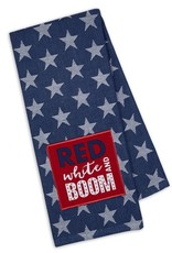 Red White Boom Embellished Dishtowel