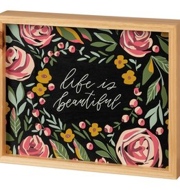 Primitives By Kathy Life Is Beautiful Inset Box Sign