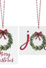 Merry Christmas & Joy Wreath Ornament, Asst