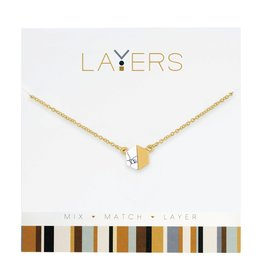 Gold Hexagon Granite Layers Necklace