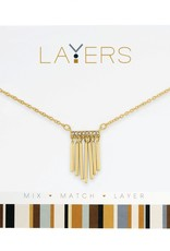 Gold Hanging Bars Layers Necklace