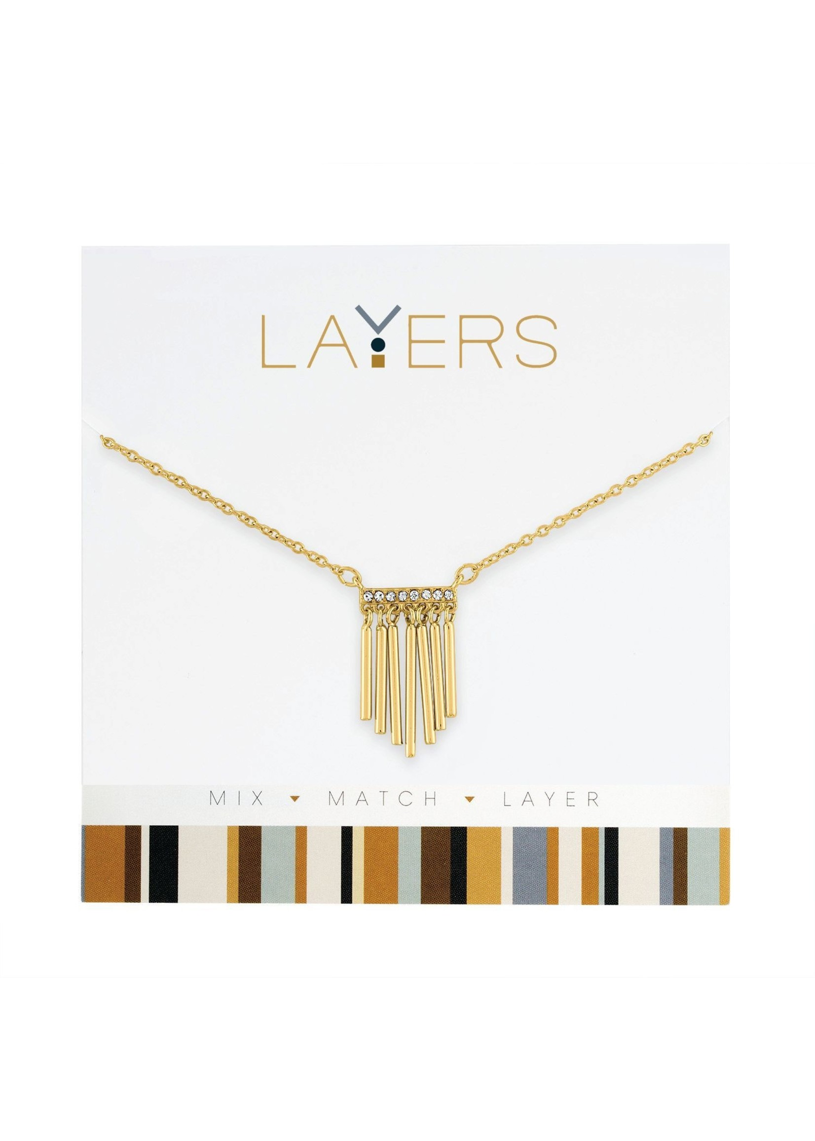 Layers Gold Hanging Bars Layers Necklace