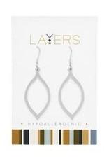 Silver Oval Dangle Layers Earrings
