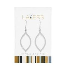 Layers Silver Oval Dangle Layers Earrings