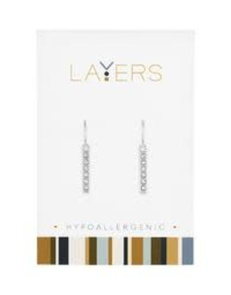 Layers Silver CZ Bar Dangle Layers Earrings