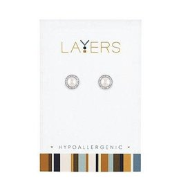 Layers Pearl Stud Sparkle Silver Layers Earrings