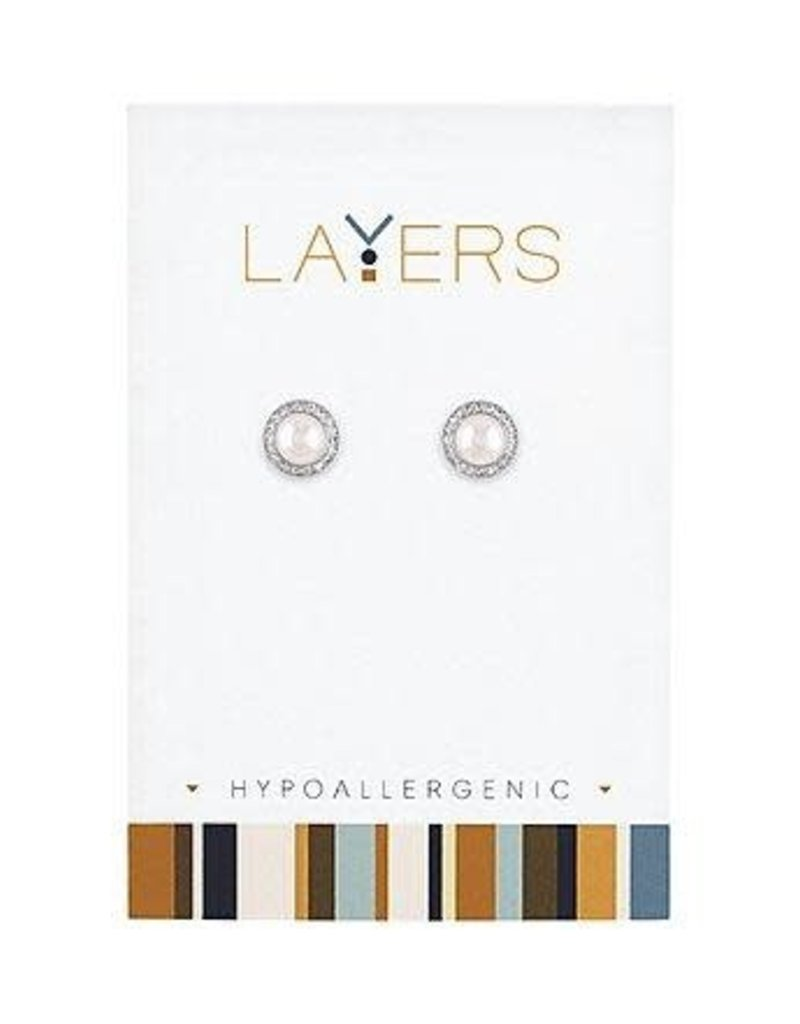 Pearl Stud Sparkle Silver Layers Earrings