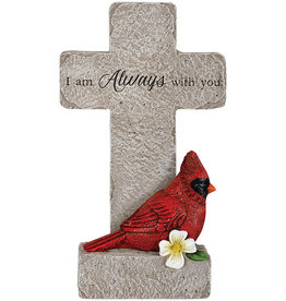 """With You"" Cardinal Memorial Pedestal Cross"