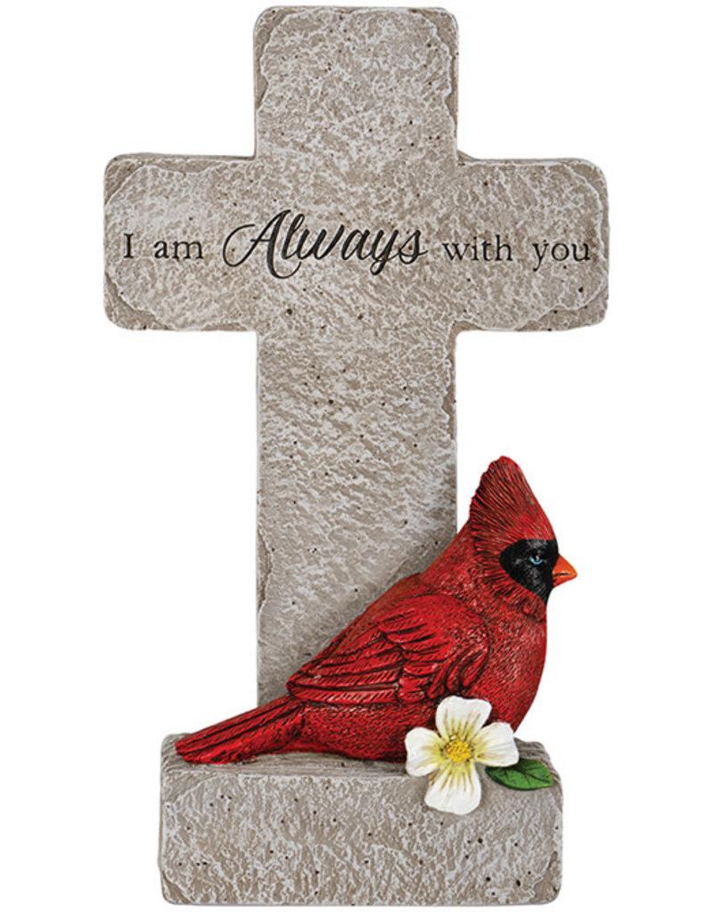 """""""With You"""" Cardinal Memorial Pedestal Cross"""