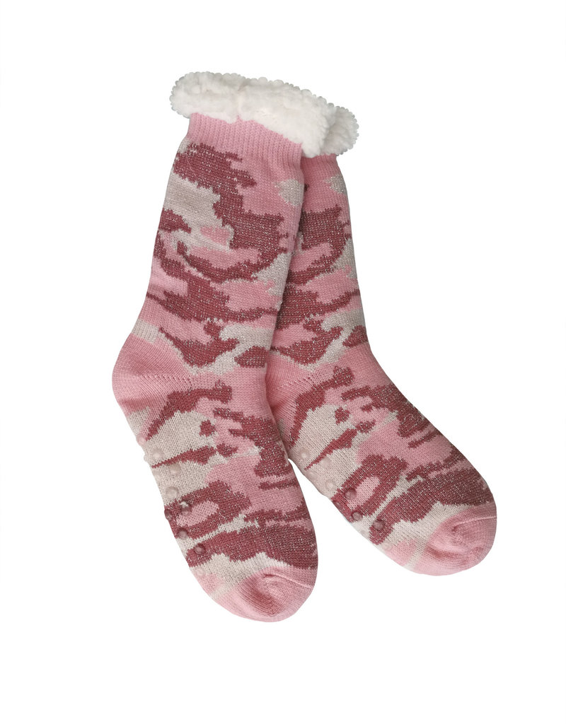 Camo with Sparkle Sherpa Slipper Socks