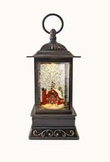 "10.5"" Glitter Lantern Red Barn"