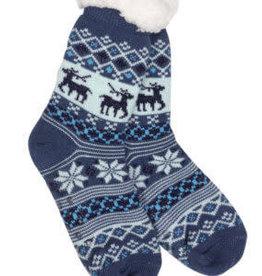 Mirabeau Snowflake Sparkle Deer Thermal Slipper Socks