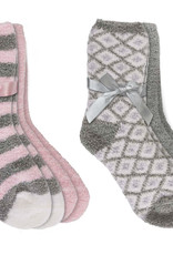 Fashion by Mirabeau 2 Pair Pink & Gray Story Soft Socks with Shea Butter and Lavender