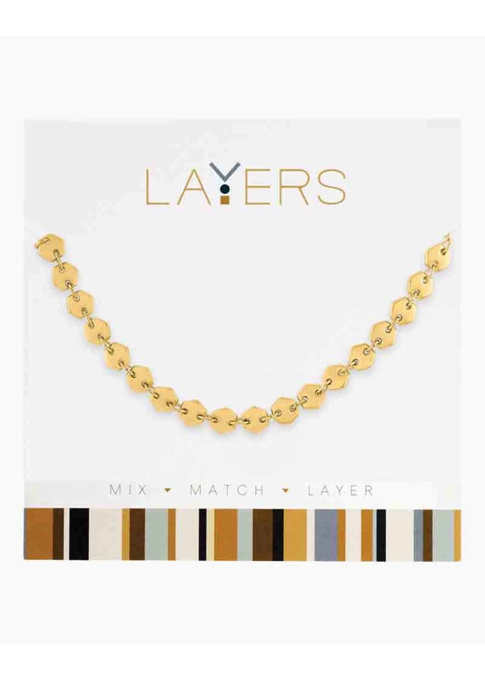 Layers Gold Small Hexagon Layers Necklace