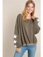 L Love Star Print Sleeves Top