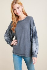 L Love Tie Dyed Sleeve Top