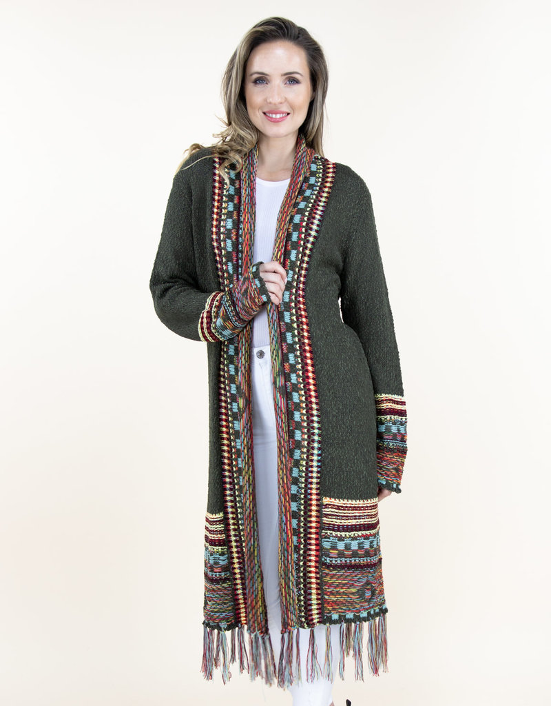 Very Moda Native Cardigan With Fringe