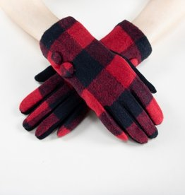 Very Moda 2 Button Boxy Flannel Gloves Red