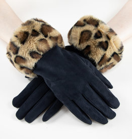 Very Moda Faux Fur Leopard Cuff Gloves