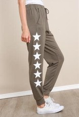 L Love Side Leg Star Print Pants