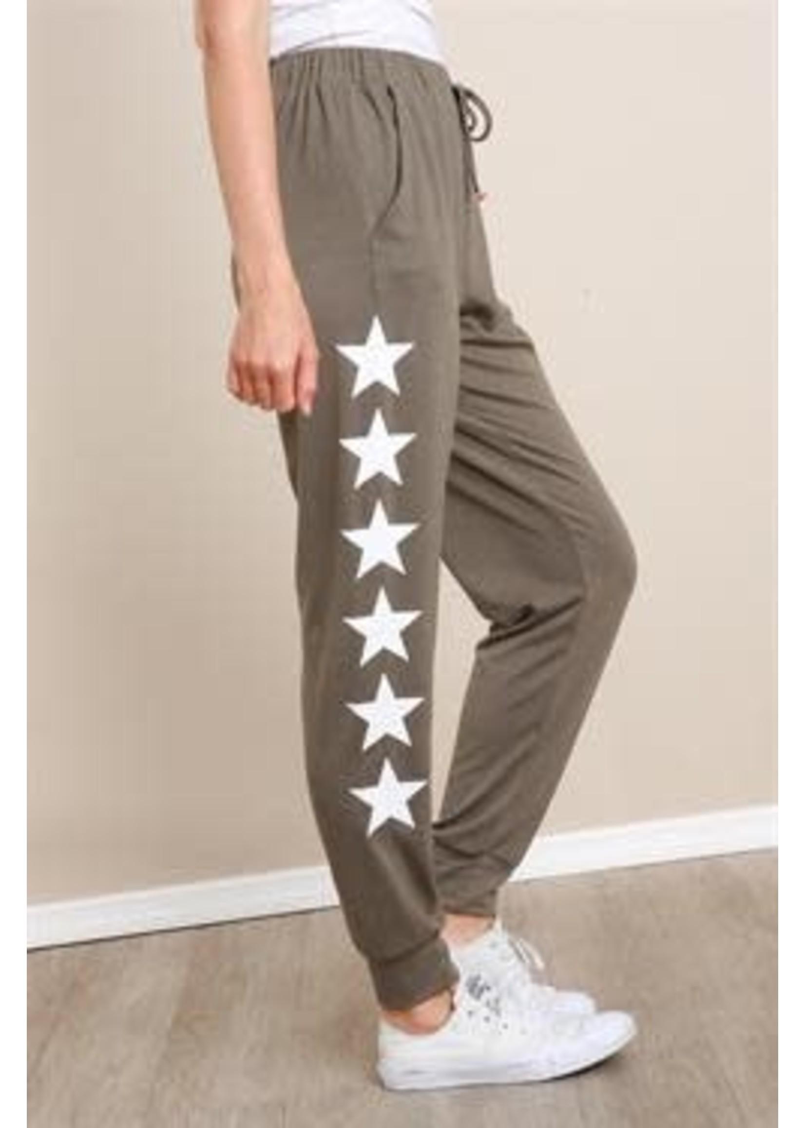 L Love Side Leg Star Print Pants