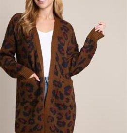 L Love Leopard Long Cardigan
