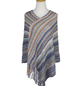 "Multi Color ""V"" Neck Giving Poncho"