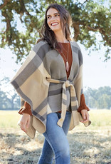 47th & Main Monica Plaid Tie Waisted Poncho
