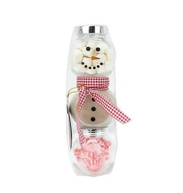 Holiday Snowman Jar Cocoa Set Red Scarf