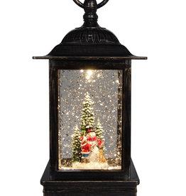 "10.5"" Glitter Lantern Building A Snowman"